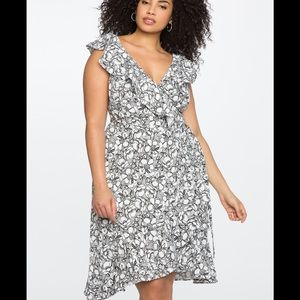 Eloquii black and white floral print wrap dress